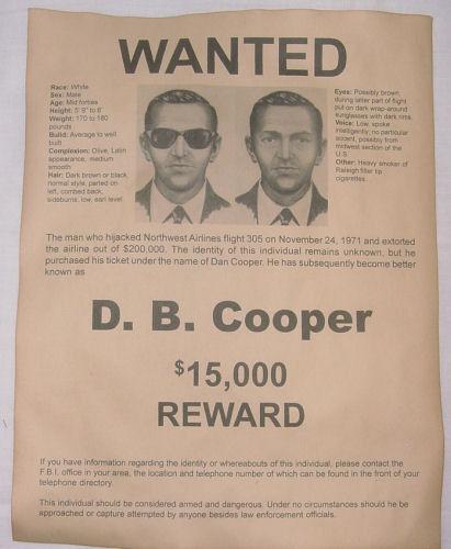 Db Cooper Wanted Poster Hijacker Skyjacker Robber Criminal DB D B - criminal wanted poster