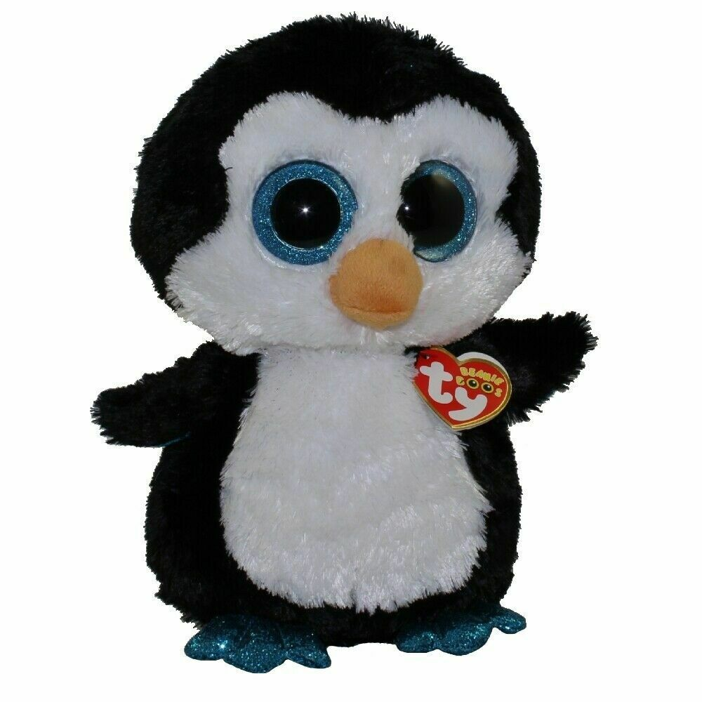 Waddles 2010 Ty Beanie Boos Medium 8in Penguin Solid Blue Eyes 3up 36904 For Sale Online Ebay