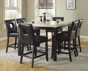 Faux Marble Counter Height Dining Table Black Chairs Dining Room Furniture Set Ebay