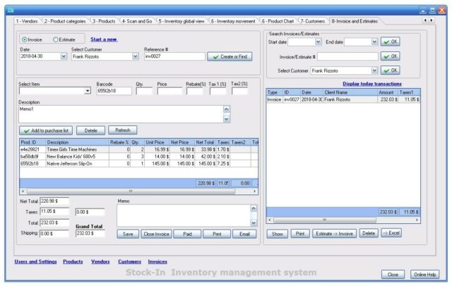 Invoice / Inventory/ customers software for Windows , barcode and