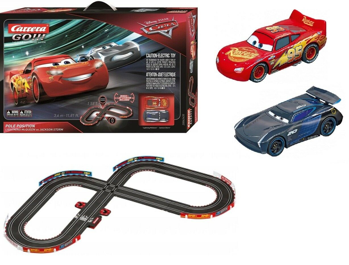 Cars 3 Jackson Storm Jouet Carrera Go Disneypixar Cars Pole Position Slot Car Racing Race Set 62435 New