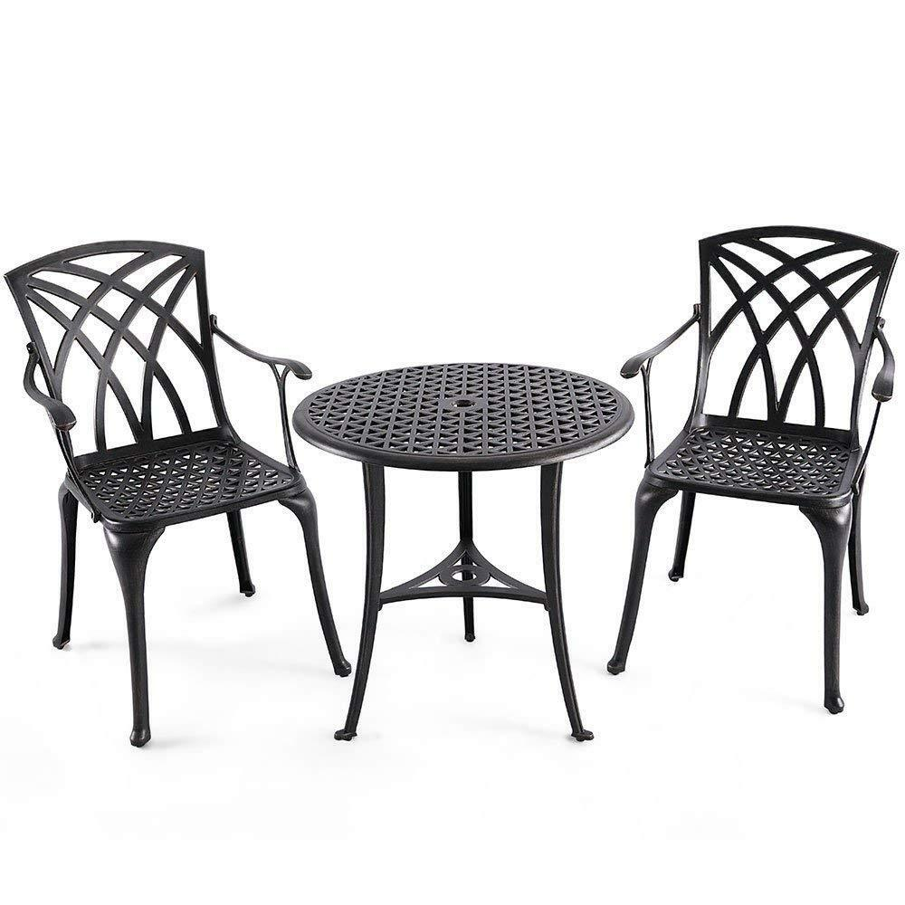 Round Table Patio Furniture Sets Details About Patio Dining Table Set 2 Dining Chairs 1 26 Round Table Cast Aluminum
