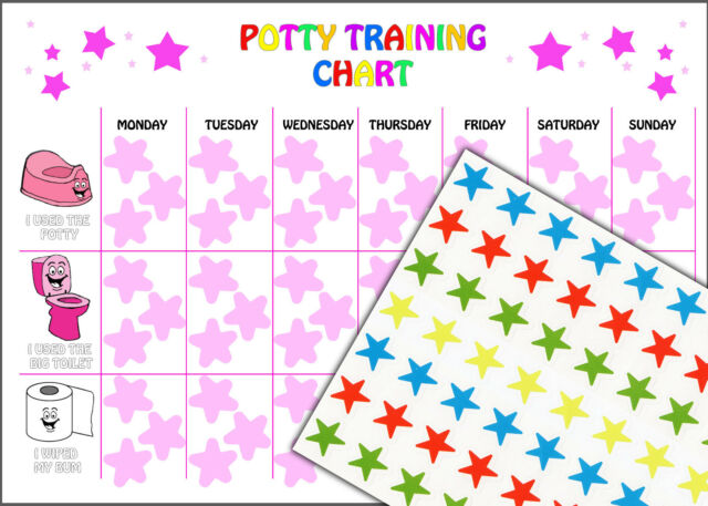 Reusable Girls Potty Training Reward Chart 63 Star Stickers and A4