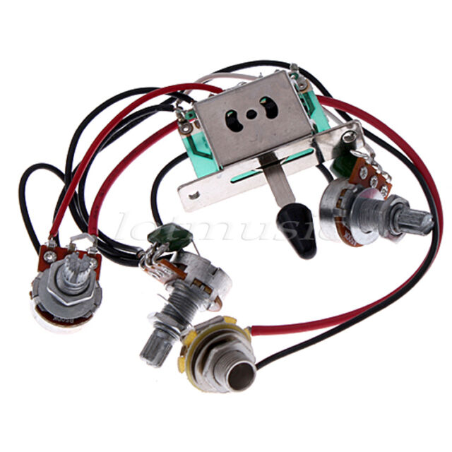 2 X Guitar Pickup Wiring Harness Switch Pots Jack for Fender Strat