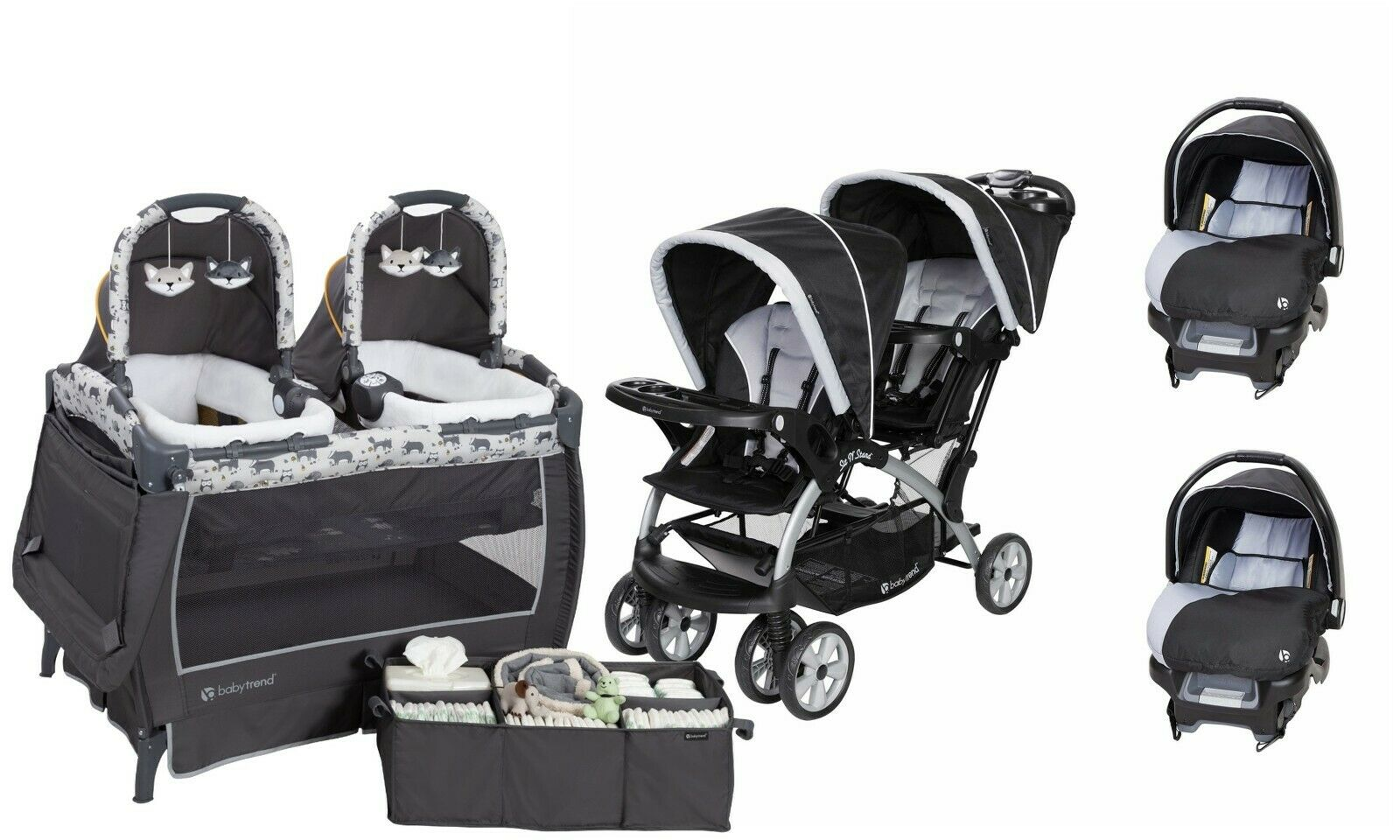 Twin Stroller And Carseat Double Baby Stroller With Baby Trend Infant Car Seat Twins Playard Travel System