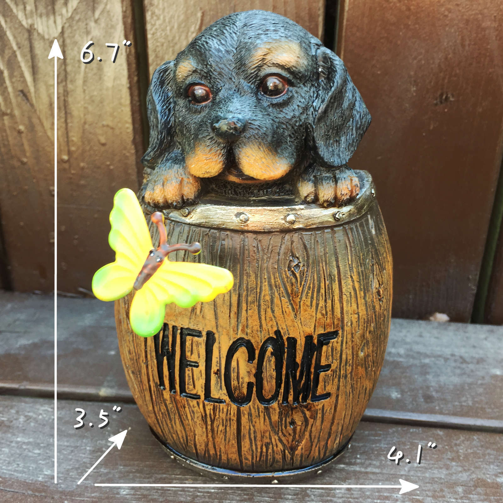 Welcome Statues Garden Resin Decoration Puppy Cask Welcome Dog Garden Statues