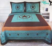 3Pcs Texas Western Design Star Barbwire Quilt BedSpread