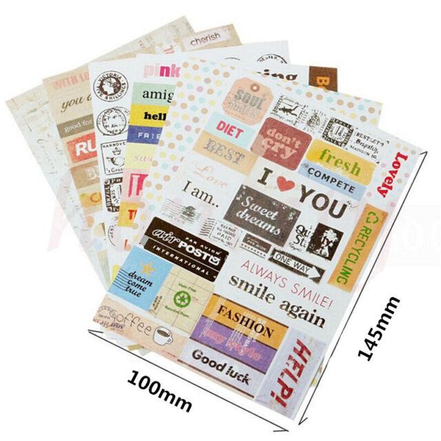 6x Retro DIY Calendar Paper Stickers for Scrapbooking Diary Planner