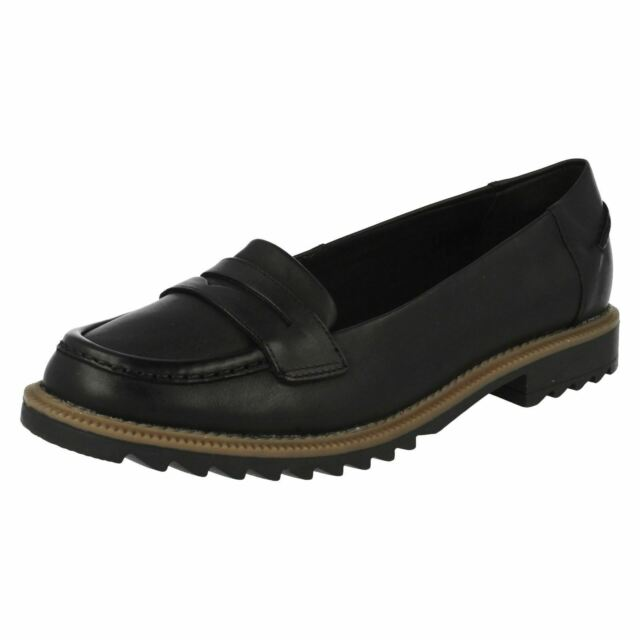 Clarks Griffin Milly - Black Leather Womens Shoes 3 UK E (see Size