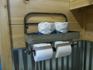 Rustic Farmhouse Aged Metal Paper Towel Holder Toilet