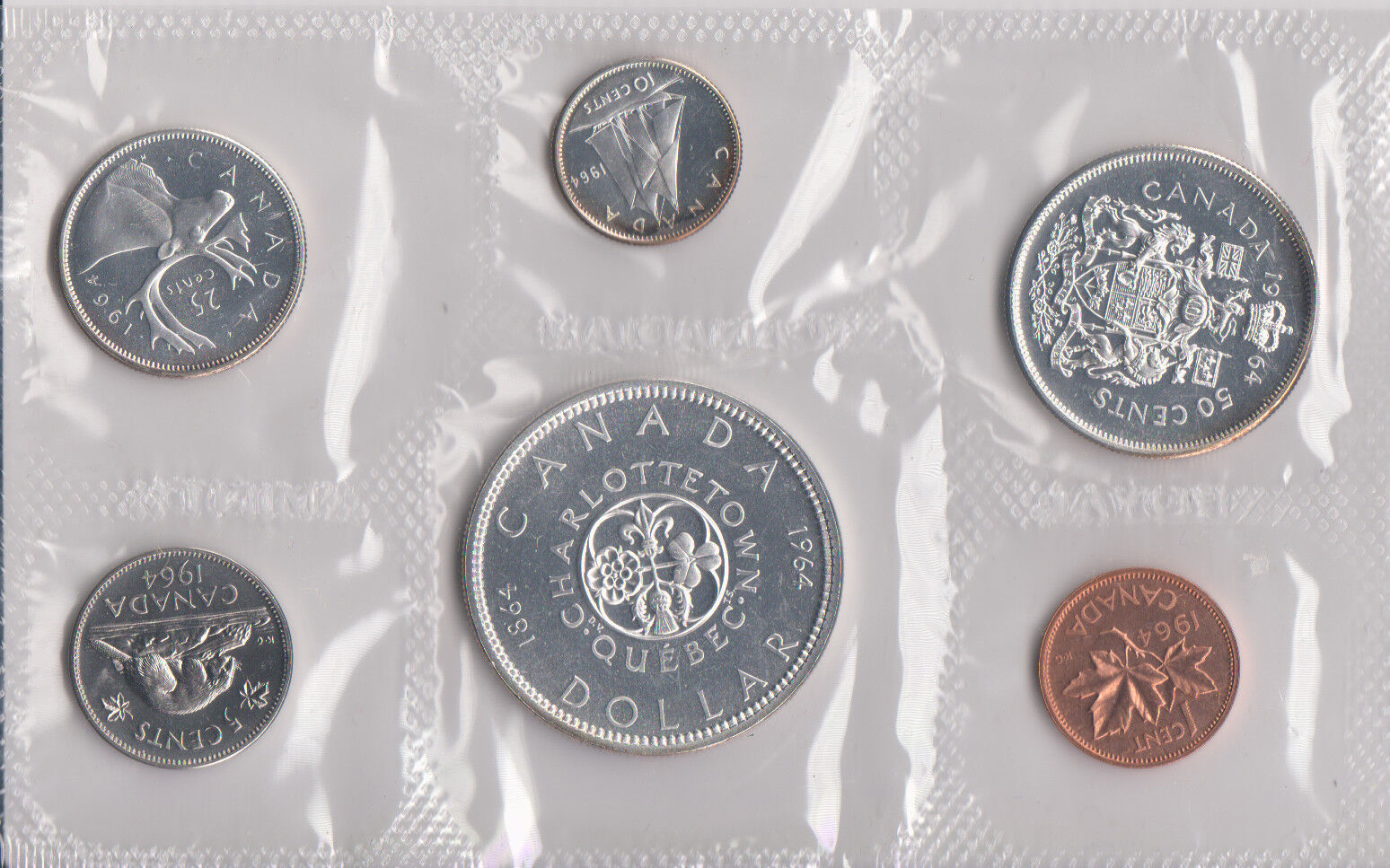 Mint Set Details About 1964 Canada Sealed Proof Like Mint Set 6 Coins Total 4 Silver Coins 80 800