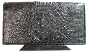 100 Genuine Crocodile Hornback Leather Checkbook Wallet