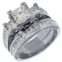 3.5 CARAT DIAMOND ENGAGEMENT RING WEDDING BAND SET SQUARE ...