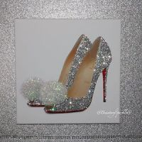 Glamour Sparkle Silver Glitter SHOE CANVAS PRINT wall art ...