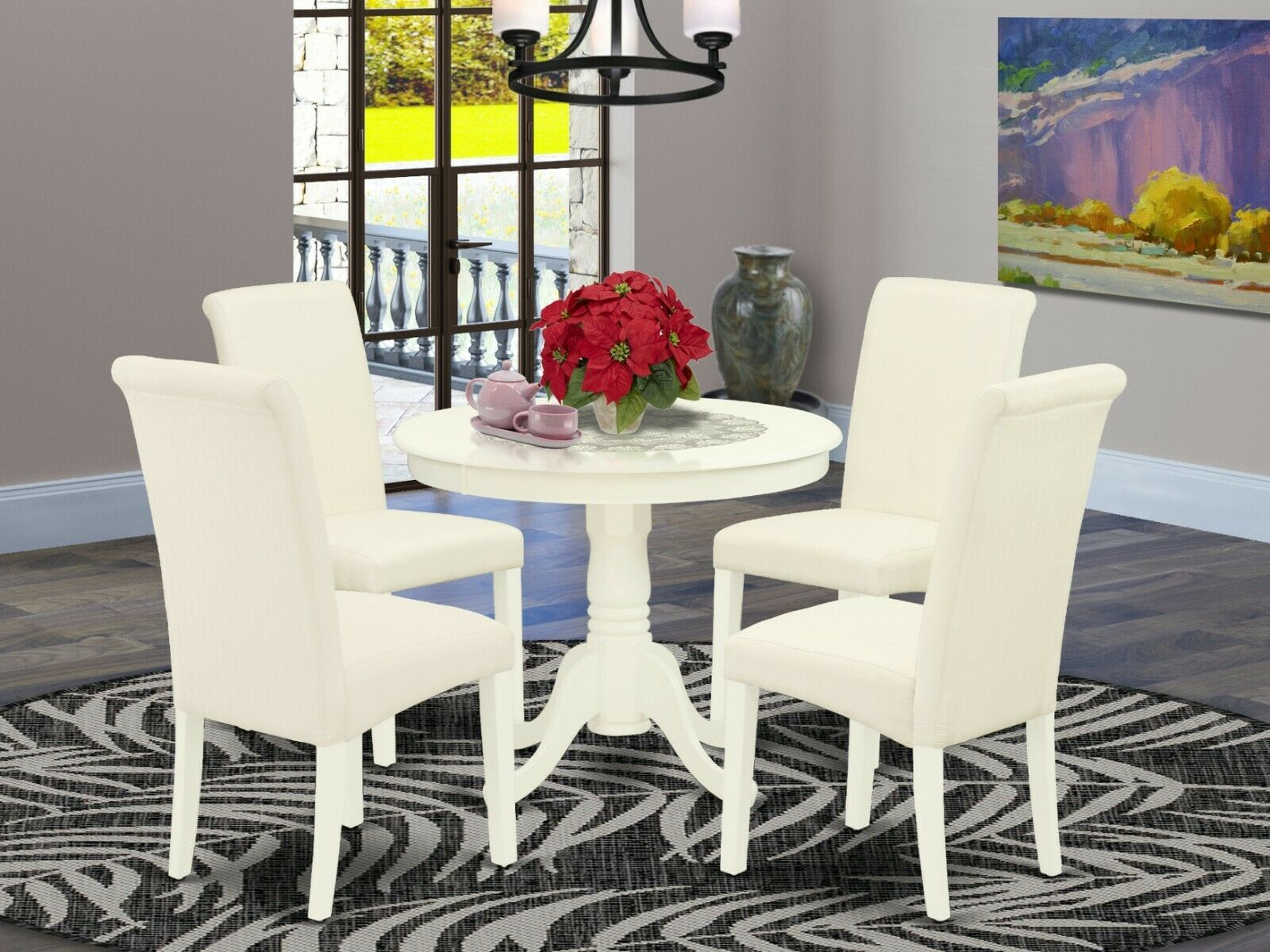 Retro Dining Set Chrome White Round Table Red Chairs Kitchen Dinette Furniture For Sale Online Ebay