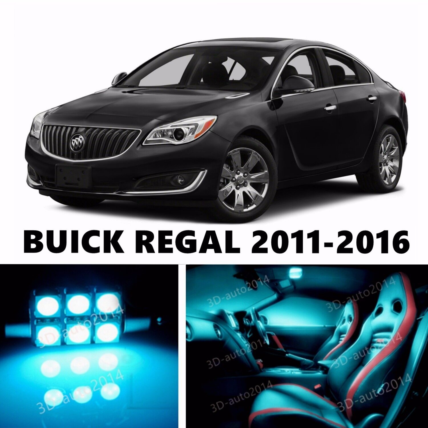 Led Regal 16pcs Led Ice Blue Light Interior Package Kit For Buick Regal
