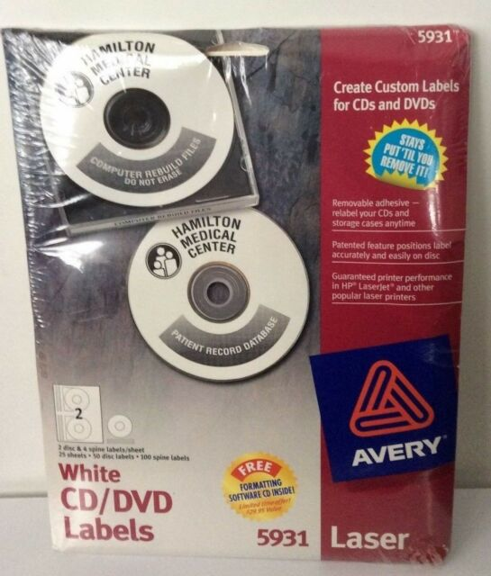 Avery 5931 Removable CD DVD Labels 50 Disk 100 Spine Labels for sale