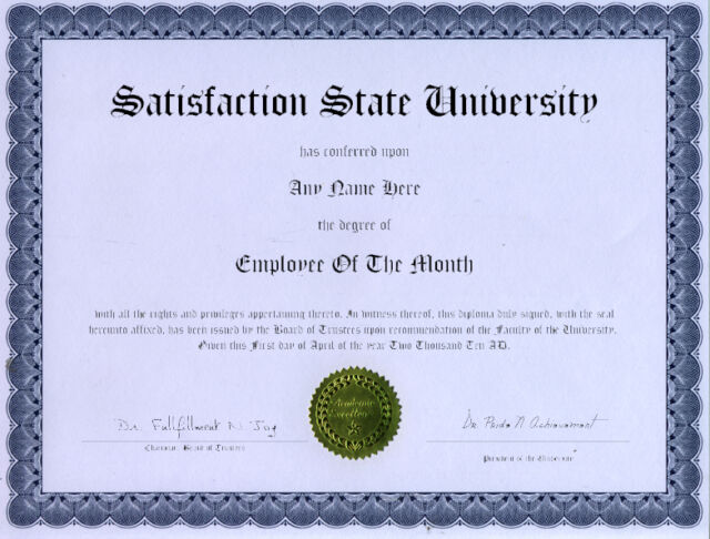 Employee of The Month Novelty Diploma Award Gift for sale online eBay
