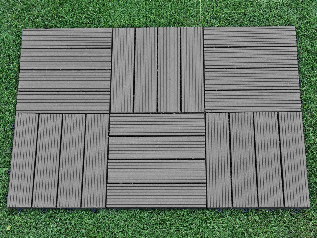 Composite Deck Tiles 6 Pack 12x12 Inch Outdoor 4 Slat Composite Interlocking