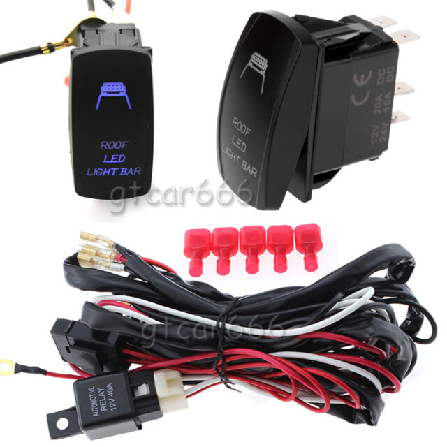 12v Auto Roof LED Light Bar Wiring Harness Relay Fuse On-off Laser