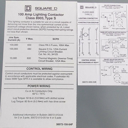 Square D 8903-sqg2v02 Lighting Contactor 3 Pole 100 Amp 120v Coil