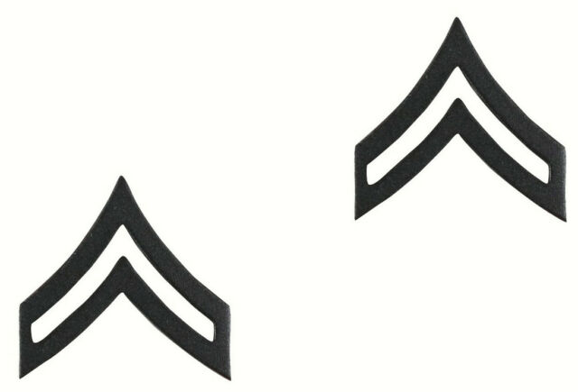 US Army Corporal E4 Insignia Black One Pair Military Approved 1602