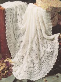 "Gorgeous Lacy Baby Shawl 3 ply~ 48"" square ~ Knitting"