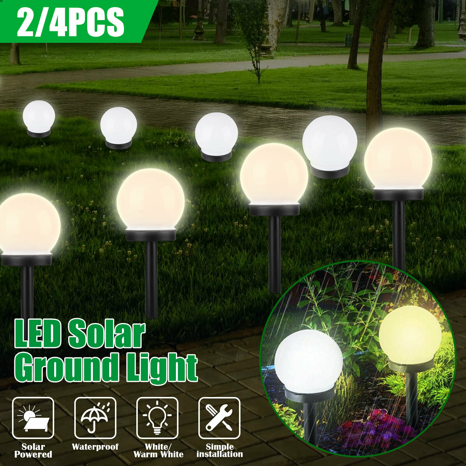 4x Solar Crackle Glass Ball Landscape Light Color Chang Led Outdoor Garden For Sale Online Ebay