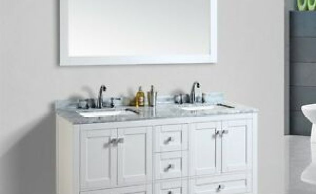Blossom 60 Dubai Double Sink Bathroom Vanity With Marble Top White Color