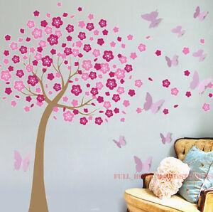 3d Wave Flocking Wallpaper Huge 3d Butterflies Pink Cherry Blossom Tree Wall Stickers