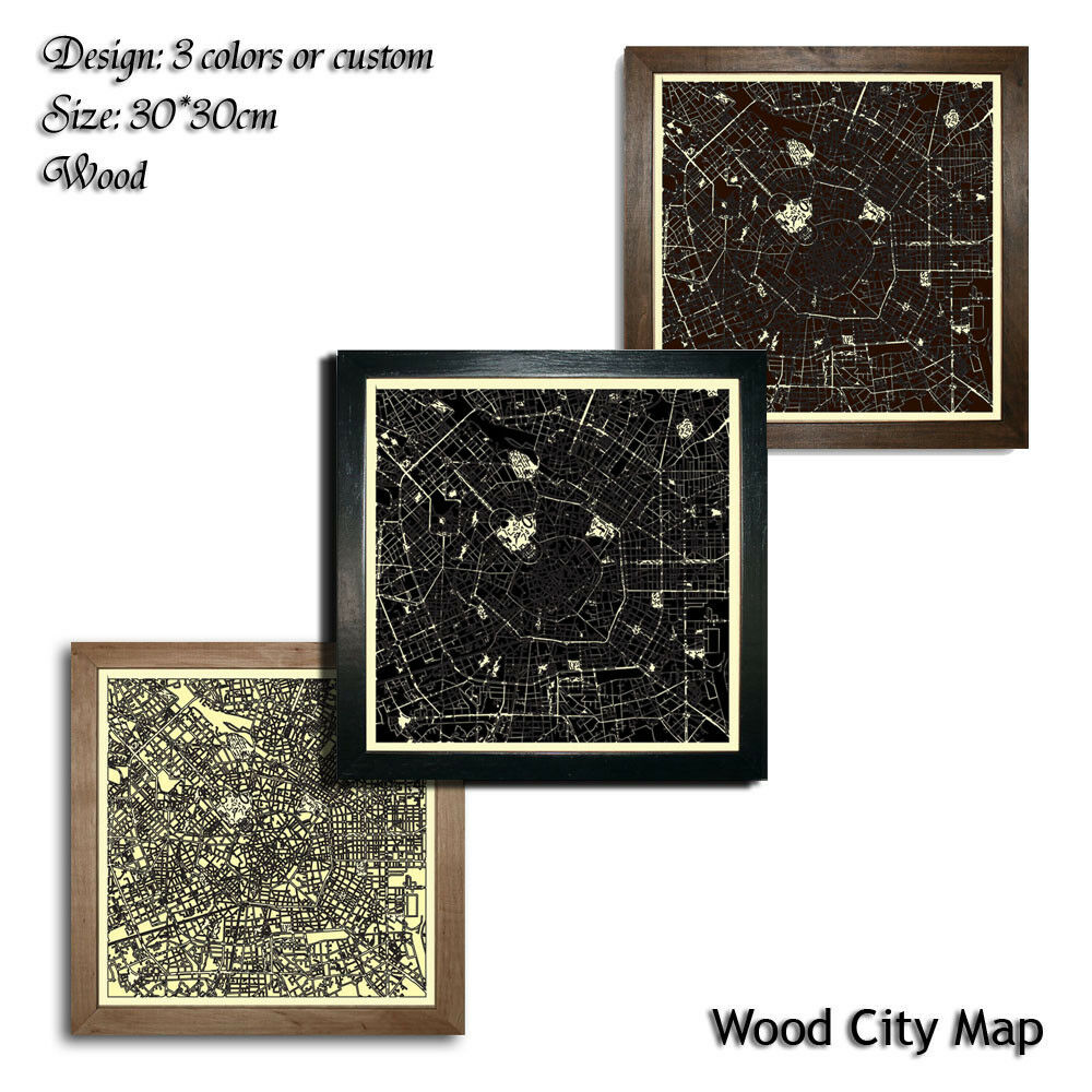 Duschwand Glas Laser Decor Milan Map Wood Picture City 30x30 Art Wall Cut Laser