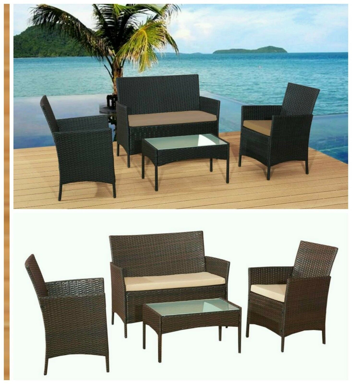 Rattan Sofa Instructions Rattan Garden Furniture Sofa Table Chairs Set Patio