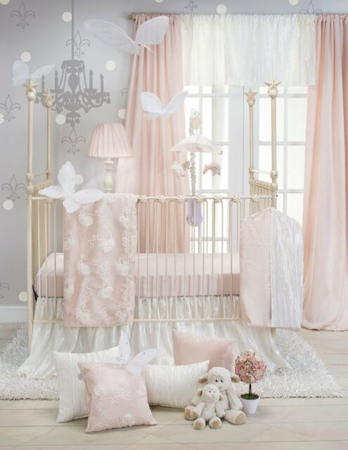 Elegant Princess Floral Pink  White Baby Girls Nursery 3 PC Crib
