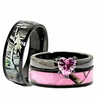 His, Her Black Pink Titanium Camo Heart Stainless Steel ...