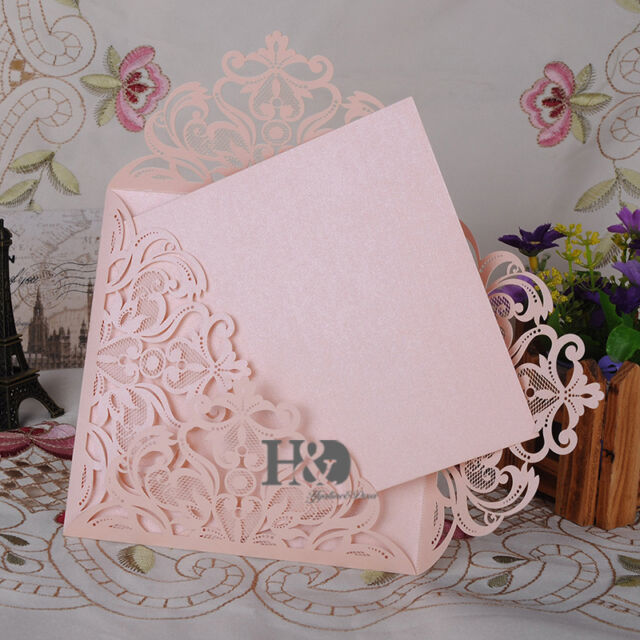 12 PCS Beige Pink Laser Cut Wedding Invitation Cards Blank Inner