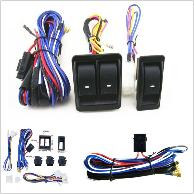 Car Auto Power Window Switch With 12v Wiring Harness Kits Universal