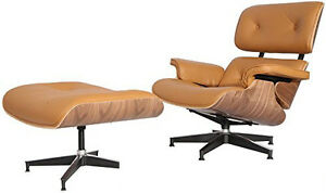 Emod Eames Style Lounge Chair Ottoman Aniline Leather