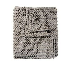 Chain Knit Throw Grey 150cm X 125cm Charcoal Chain Knitted