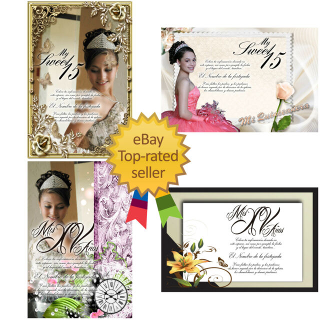 PSD Photoshop Templates for Quinceaneras Invitations Vol 5 and