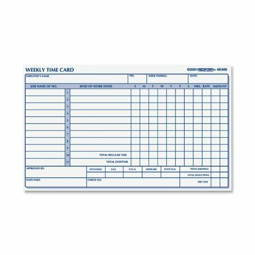Rediform Employee Time Card Weekly 425 X 7 Inches 100 per Pad 4K409