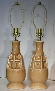 VTG PAIR CERAMIC TABLE LAMP RETRO MID CENTURY MODERN 50s ...