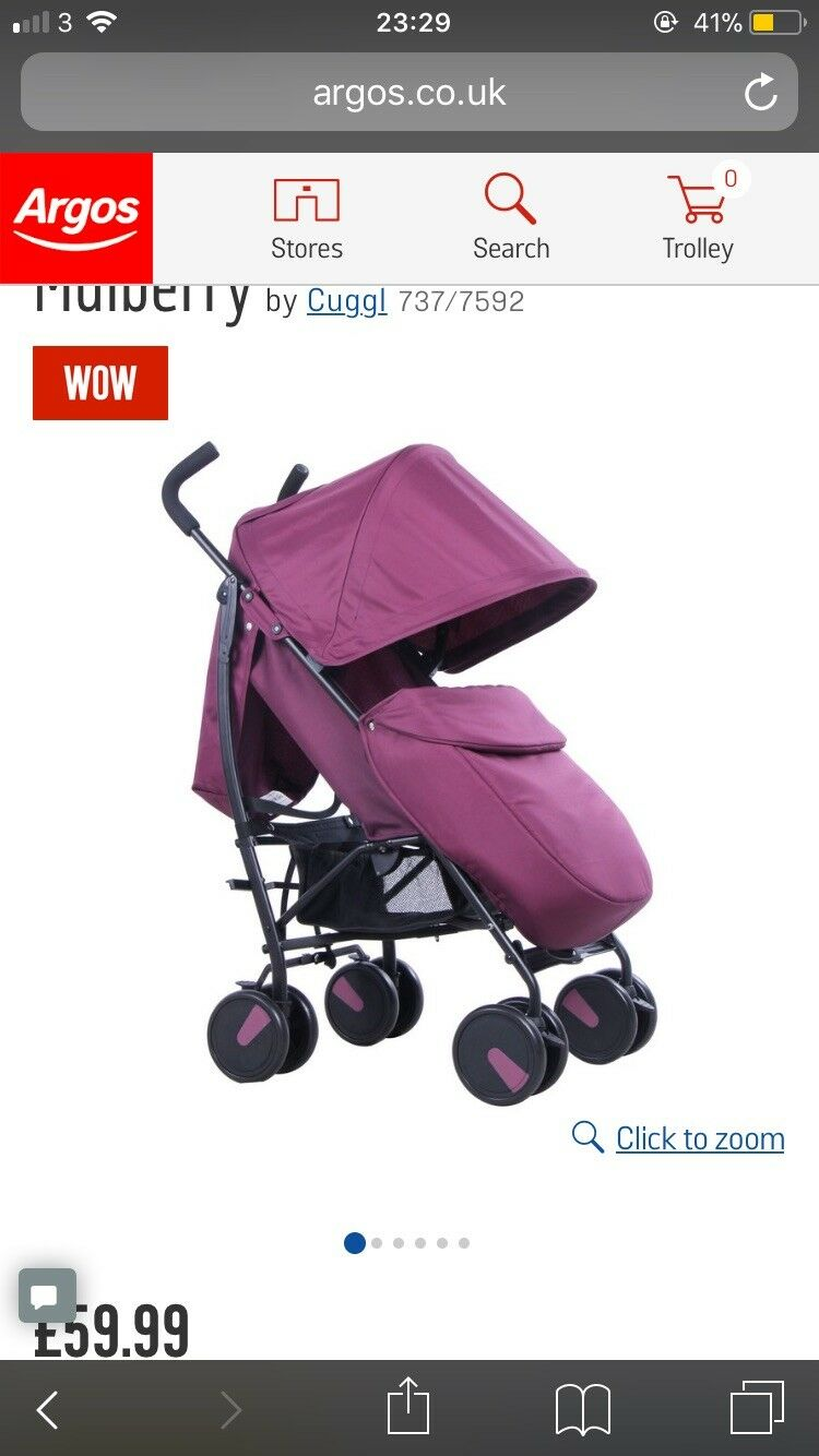 3 Wheel Prams Argos Cuggl Maple Pushchair Choice Of Blue Pink From The Argos Shop On Ebay