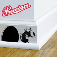 London Banksy Rat Mouse Hole Paint Brush Wall Sticker ...