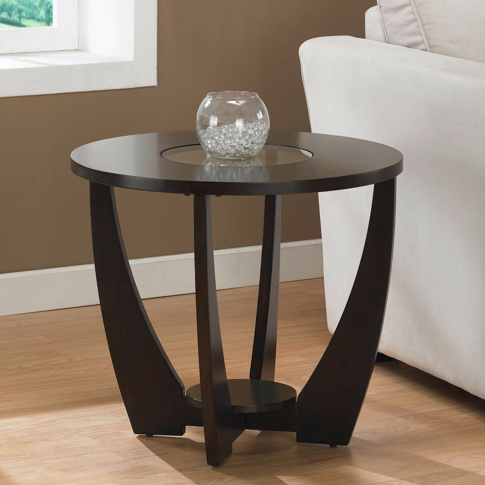 Round Glass Top End Tables Dark Brown Round End Table With Glass Top Living Room