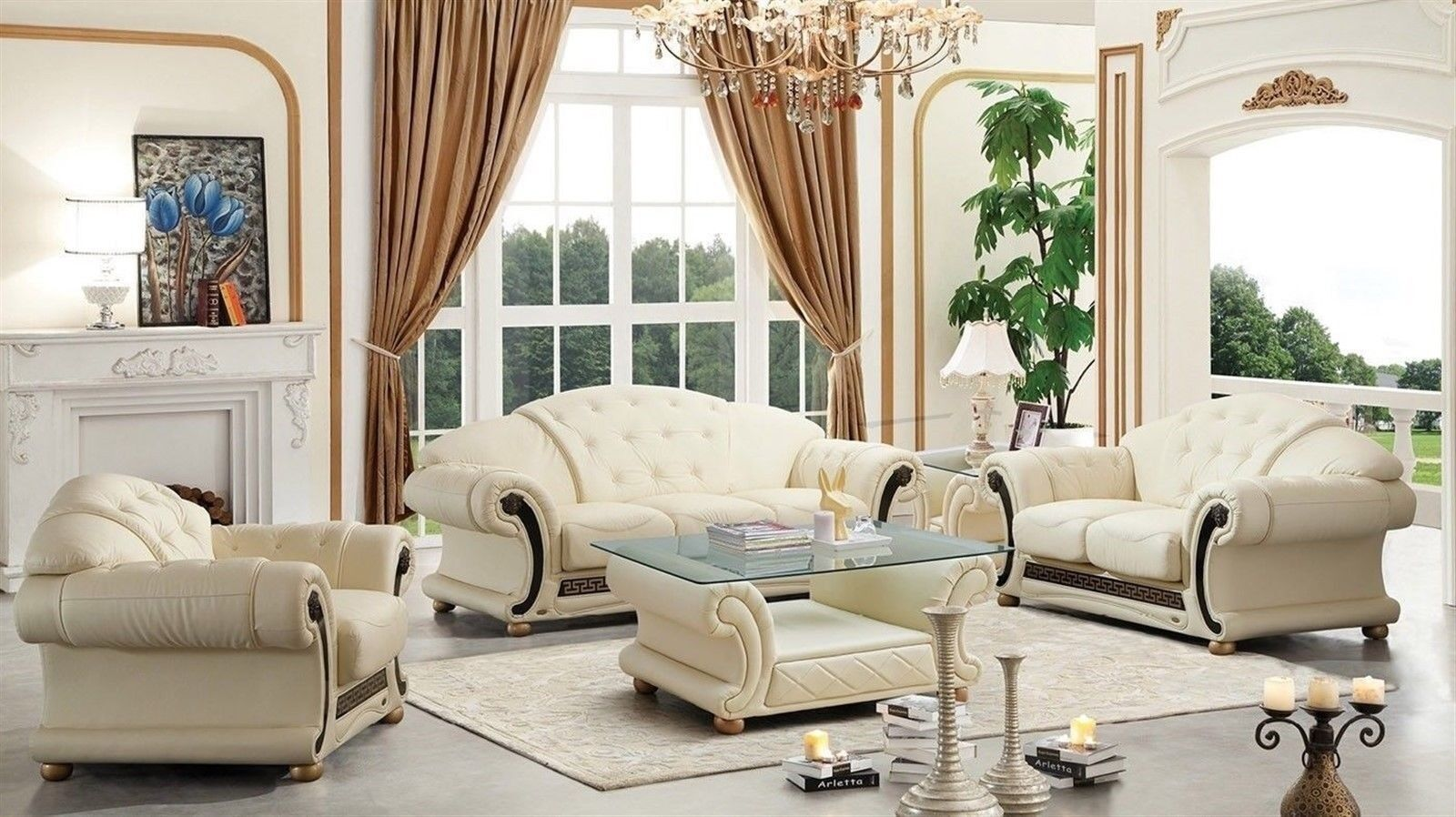 Vig Divani Casa Cleopatra Cream Genuine Leather Sofa Set 3ps Classic Traditional For Sale Online Ebay