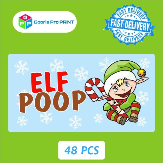48x Christmas Elf Poop Sticker Label Business Xmas Fun Gift Seal Tag