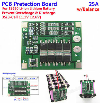3S 25A 126V w/Balance BMS Protection PCB Board for 18650 Li-ion