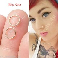 Extra Small Rose Gold Nose Ring Hoop 0.6mm Cartilage ...