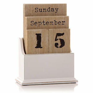 Perpetual Desk Calendar Blocks Amazon Perpetual Desk Calendar Vintage Wooden Block Perpetual Year Calendar Date Home