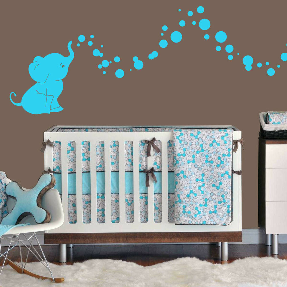 Tapete Babyzimmer Neutral Cutie Elephant Bubbles Wall Decal Vinyl Wall Nursery Room